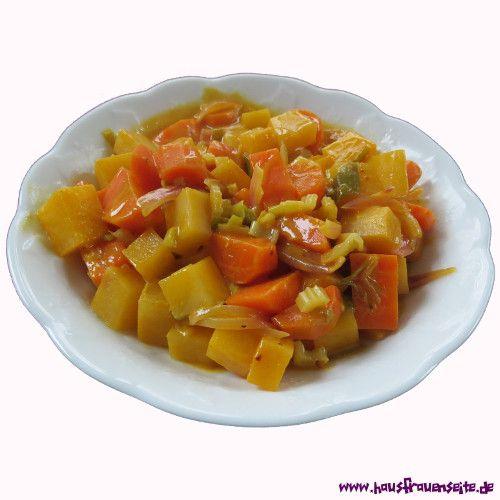 Steckrübencurry mit Kokosmilch, Frühlingszwiebeln und Karotten vegetarisch vegan laktosefrei glutenfrei