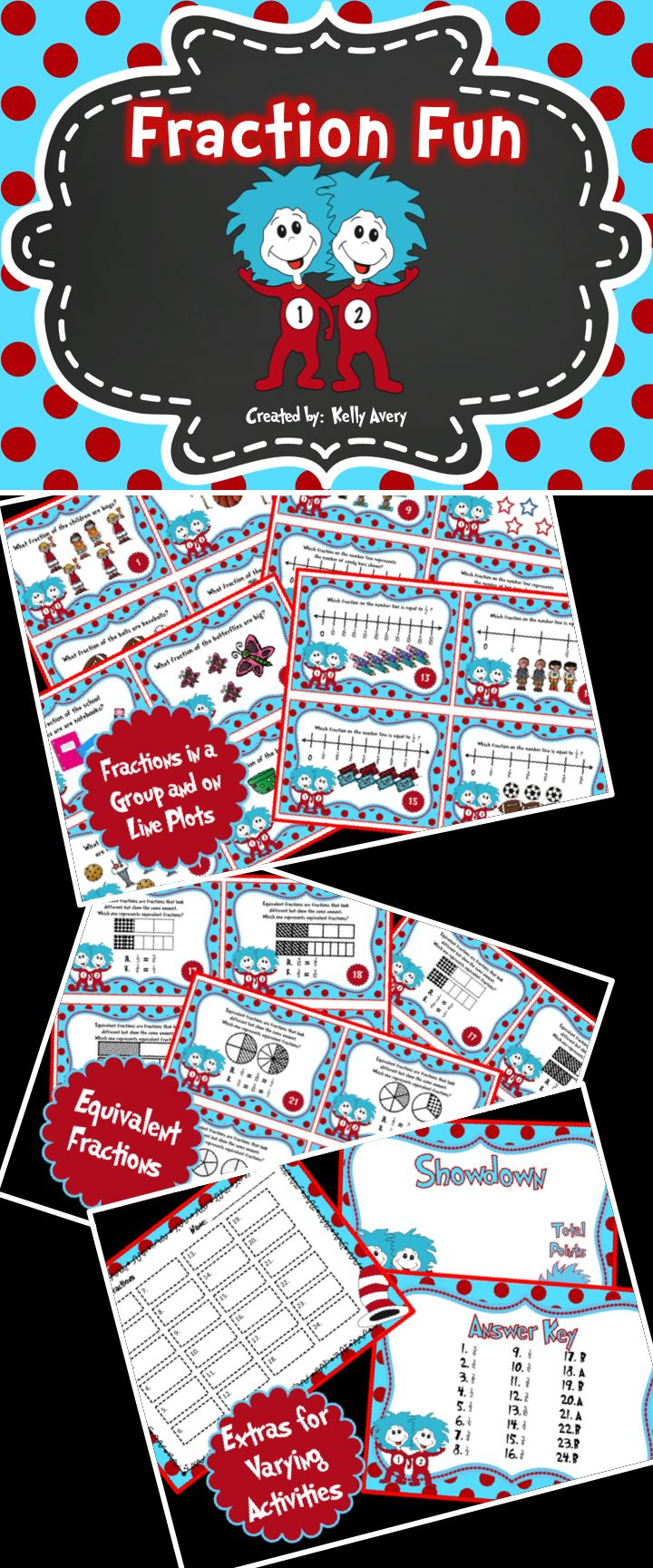 Whether you are wanting to incorporate Dr. Seuss across your curriculum for National Read Across America Day or simply looking for a fun way to offer your students practice for those dreaded standardized tests, these task cards are perfect for aiding your students in grasping the abstract concept of fractions.