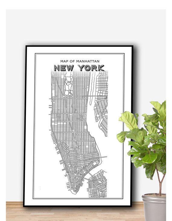 Manhattan New York Map Poster PRINTABLE FILE  Vintage door Dantell