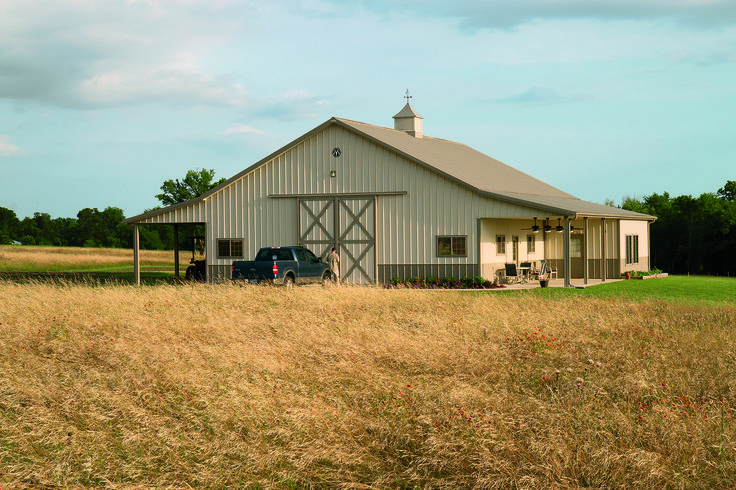 Morton building storage facility with living quarters in for Texas barn home builders