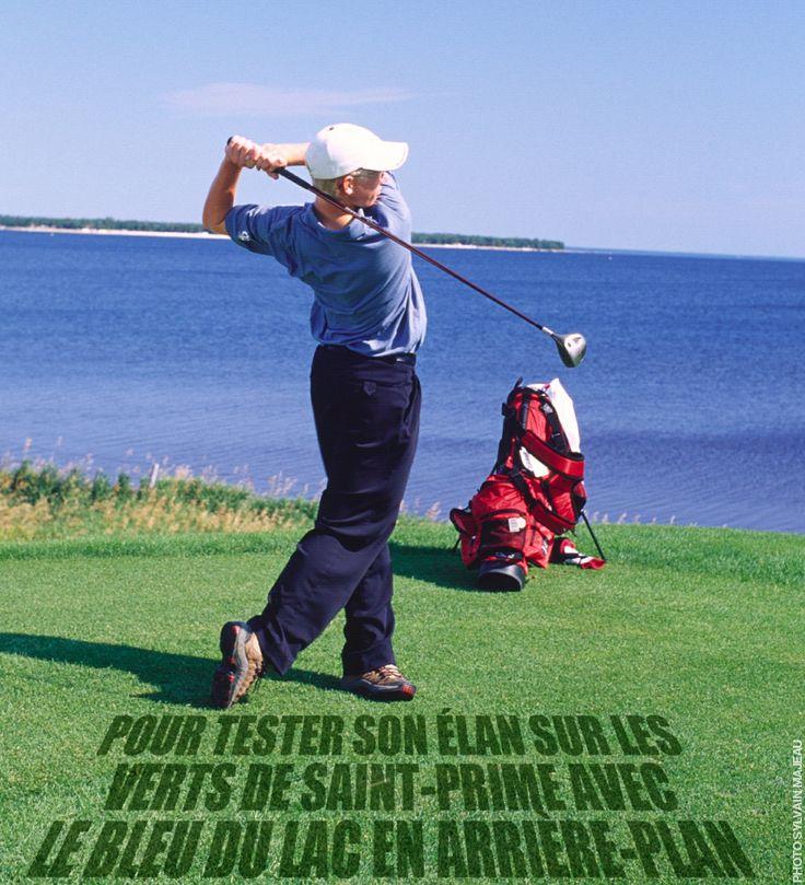 Raison no.165 pour visiter le Saguenay-Lac-Saint-Jean cet été : Pour tester son élan sur les verts de Saint-Prime avec le bleu du lac en arrière-plan. #175raisons #QcOriginal