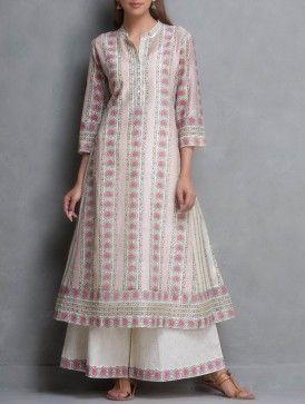 Pink-Beige Kalidar Hand Block Printed & Sequin Embellished Chanderi Kurta with Lining Set of 2 by Kora