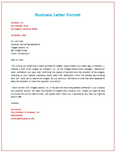Business Letter Format About Shipment