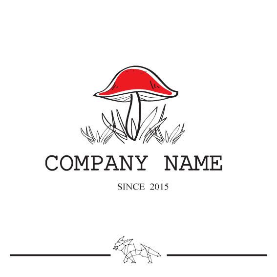 Red Black Mushroom Retro Style Logo  Woodland Wedding  by LogoLoft, $80.00
