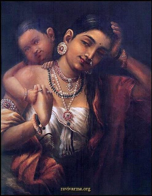 Ravi Varma Art Gallery Online: Yasodha and Krishna