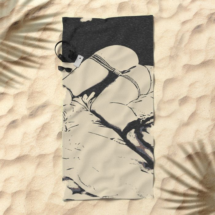 """Playing dirty, kinky bondage games in the Dark - hot erotic nude, sexy BDSM slave girl tied with ropes. Lay out like a pro with this super comfy, oversized and unique artist-designed Beach Towel. The soft polyester-microfiber front and cotton terry back are perfect for, well, drying your front and back. This design is also available as a bath and hand towel. Machine washable. Towel Dimensions: 74""""x37"""" #sexy #society6 #towels #beach #towel #design #kinky"""