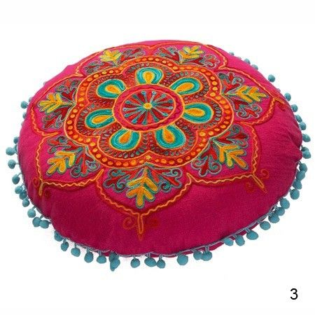 "Pink and Red Round Embroidered Gypsy Caravan Cushion ~ ""Inspired by Indian tribal prints and patterns, these striking embroidered cushions will brighten up any room. Each cushion features a zip closure on the back and a foam cushion pad."""