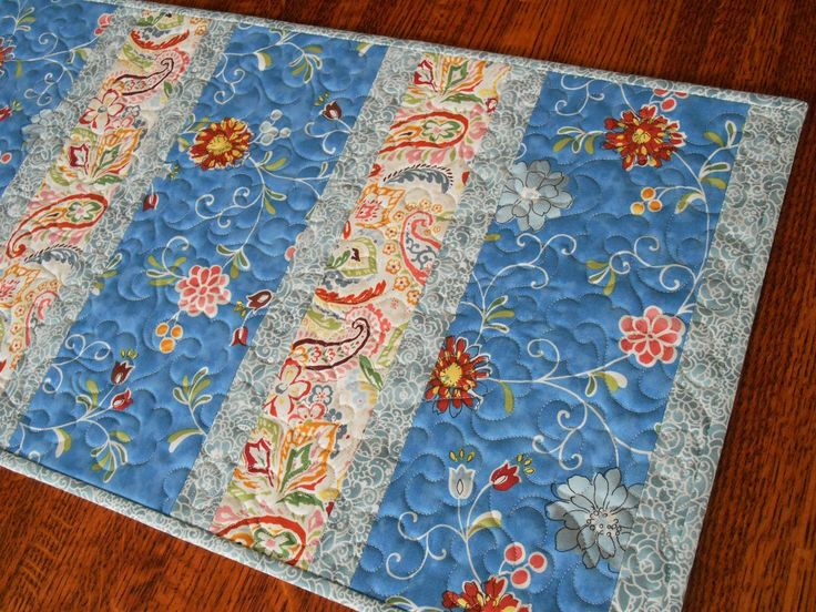 Quilted Table Runner With Flowers And Paisley In Blue With Red Pink Yellow  And Green,