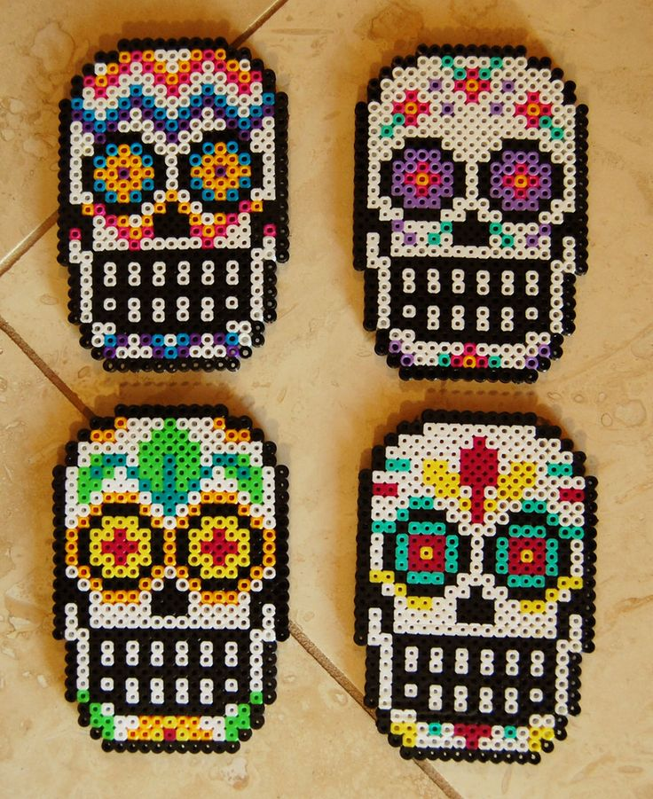 Sugar Skull Perler Coaster Set by cephalo786 on deviantart