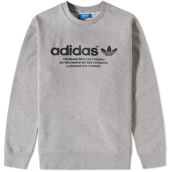 Adidas 3 Streifen Crew Sweat ($71) ❤ liked on Polyvore featuring men's fashion, men's clothing, men's hoodies and men's sweatshirts