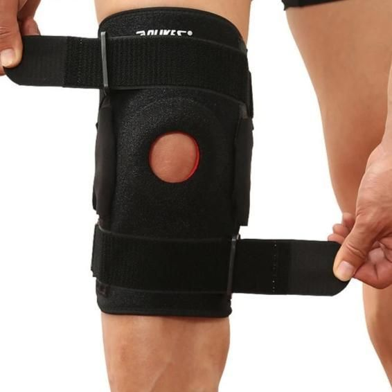 Hiking Cycling Knee Support Protector With Removeble Aluminum Plate 4 Straps For Mountaineering Knee Joint Restore Mountaineering Cycling Fitness