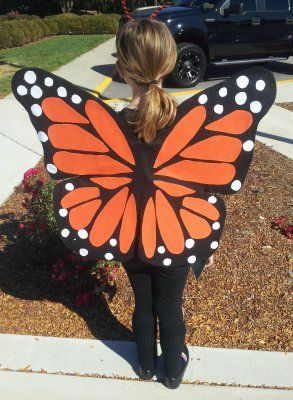 """DIY Homemade Halloween Costumes for Kids at BetterBudgeting: """"Monarch Butterfly Wings"""" made with wire coat hangers and felt!"""