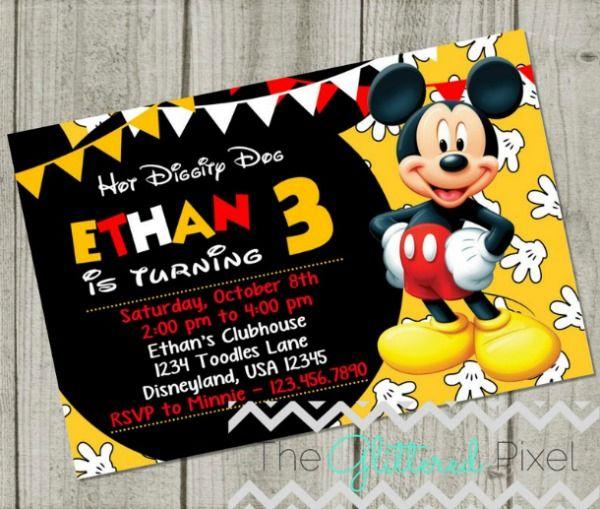 Fun Mickey Mouse Birthday Party Invitation Mickey Mouse Birthday Invitations Mickey Invitations Mickey Mouse Birthday