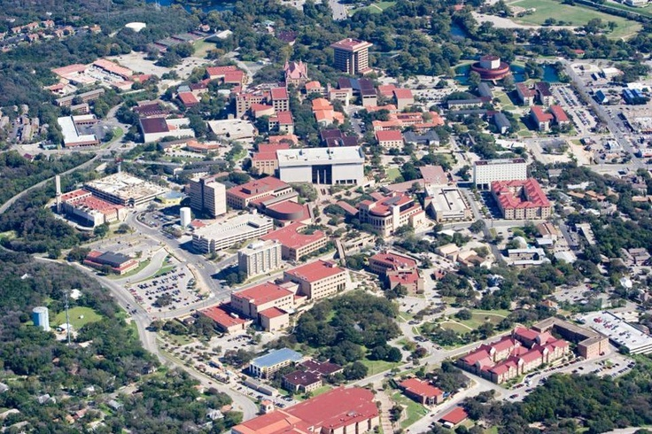 Aerial of Texas State University campus in San Marcos