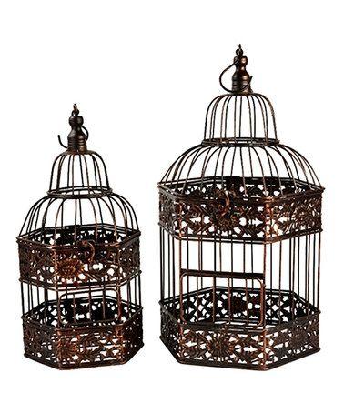 Look at this #zulilyfind! Bronze Bird Cage Set #zulilyfinds