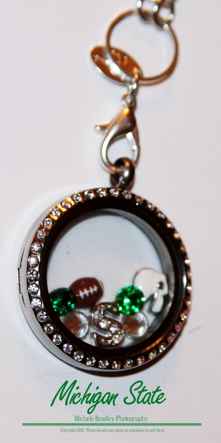 Origami Owl-Football Locket....Lake Orion Dragons....Michigan State! sports fanatic gift, living locket, charms www.meghangaska.origamiowl.com