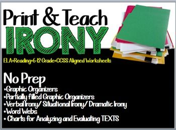 """This product can be used to teach dramatic irony, situational irony, and verbal irony.This product contains:No Prep*Graphic Organizers*Partially filled Graphic Organizers*Verbal Irony/ Situational Irony/ Dramatic Irony Worksheets*Word Webs* Charts for Analyzing and Evaluating TEXTS If you like this product, you would LOVE these products in my store:Figurative Language Handouts Grades 6-12 ELA Click here*Teaching """"The Flowers"""" by Alice Walker - PARCC Aligned Questions and the Full Short…"""