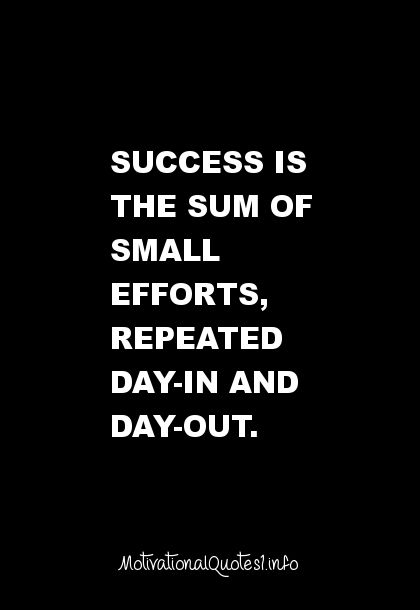 a new creation//Success is the sum of small efforts, repeated day-in and day-out...