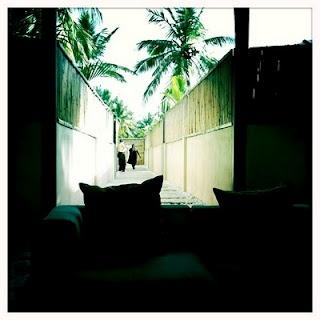 walkway to rooms at Angsana Spa in Bangalore India