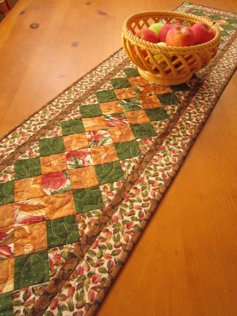 Quilted Table Runner Fall Colors, Fall Table Runner, Autumn Table Runner, Thanksgiving Table Runner, Patchwork Table Runner. $62.00, via Etsy.