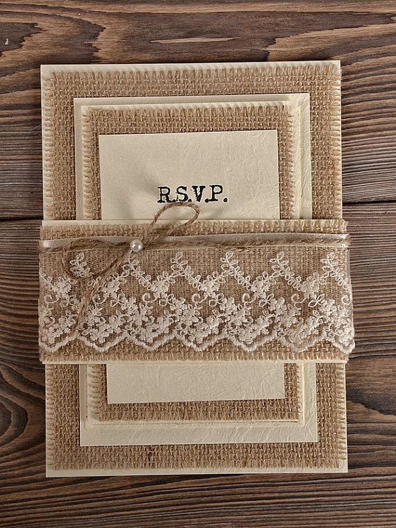 Natural Burlap  Wedding Invitation, Country Style Wedding Invitations,  Rustic Wedding  Invitations on Etsy, $5.08 CAD