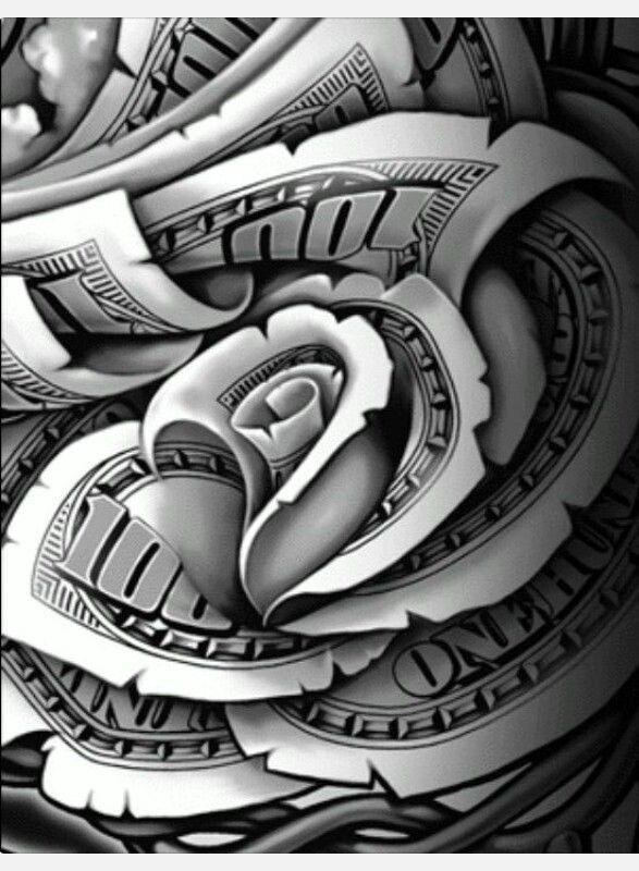 Money Rose Hands from sketch to Final art - OGABEL.COM