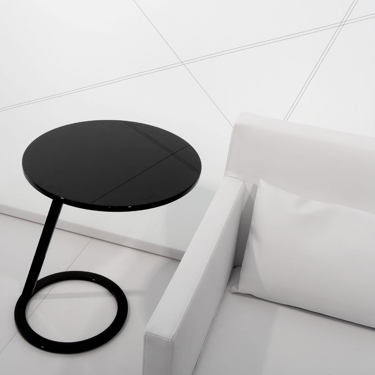 Good morning by Alban-Sebastien Gilles  Pedestal table with top & base in white or black lacquer, or with brilliant chrome base and highly polished steel top, or with brilliant-chromed base and varnished aluminum-lacquered top. May be used as a sofa end or bedside table.  www.lignerosetsf.com #LiveBeautifully