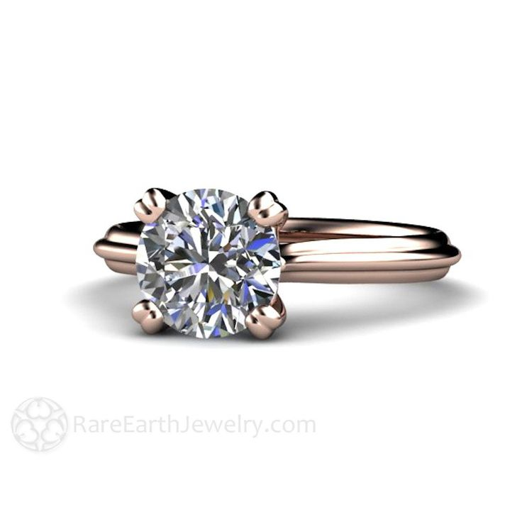 Solitaire Engagement Ring Forever Brilliant Moissanite White Yellow Or Rose Gold Conflict Free Diamond Alternative