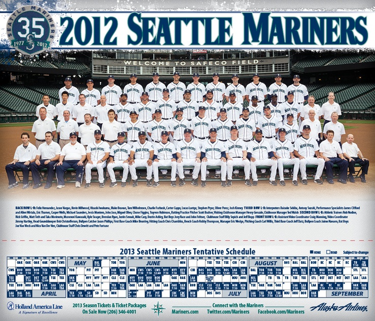 #Mariners Fan Appreciation Night. Free 2012 #Mariners team poster for all fans. Friday, September 21, 7:10 vs. Rangers