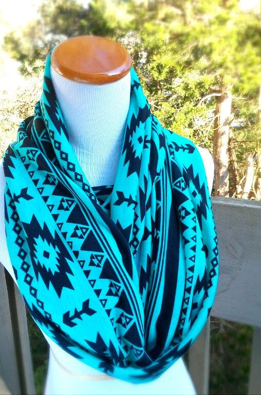 Tribal Turquiose Aztec iInfinity soft cotton knit circle scarf More