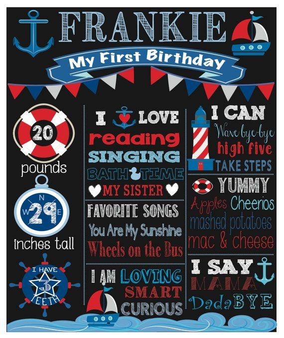 First Birthday Boy Chalkboard Nautical Theme by stardesignstudio