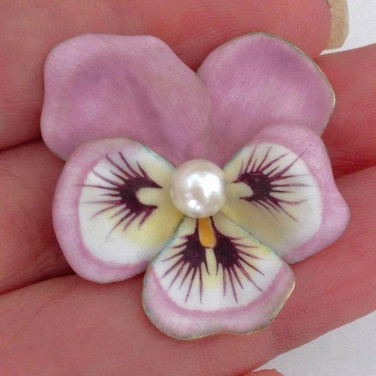Antique Larter U0026 Sons Pink Enamel Pansy 14K Gold Pearl Art Nouveau Large Brooch  Pin