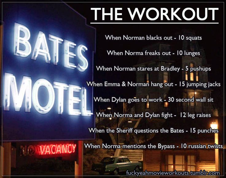 Bates Motel - The Workout!  Want to see more workouts like this?  Follow us here for your favorite movies and tv shows! We take requests, too!