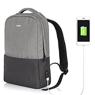KKmoon OSOCE Zaino Del Computer Notebook Portatile Borsa Da Viaggio Scolastica Con Porta USB Esterna Impermeabile