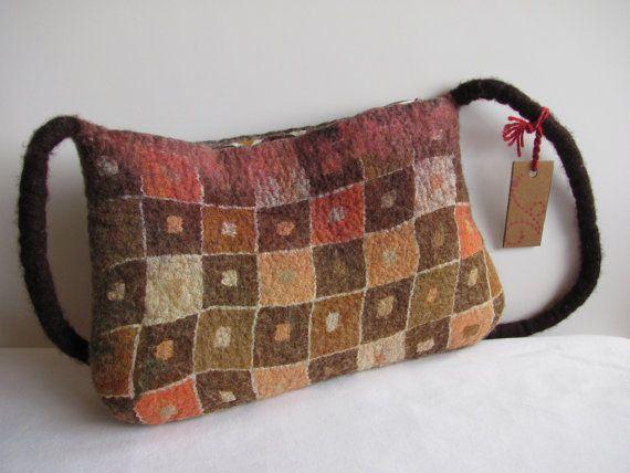Unique Nuno Felt Handbag OOAK Retro brown ★ by ZanieCraftsFeltedArt
