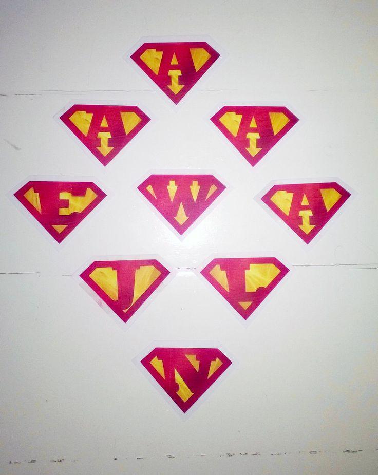 Superman badges for kids Superhero Birthday.