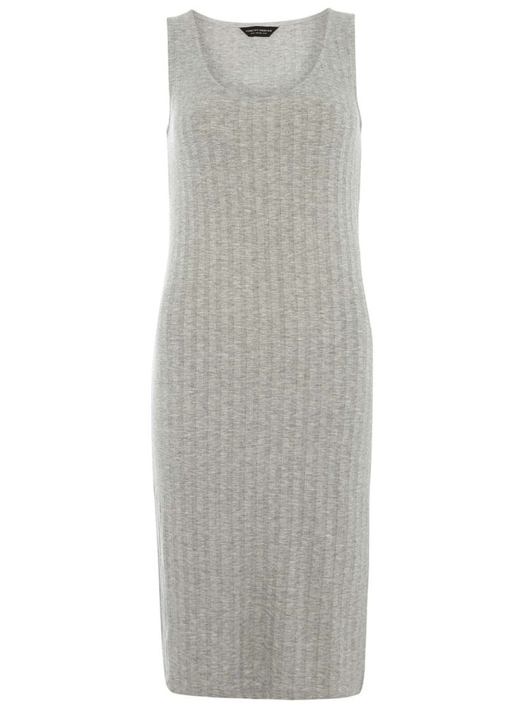 Grey Rib Textured Midi Dress - Dorothy Perkins