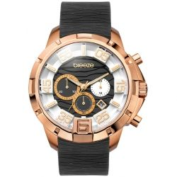 BREEZE Tropical Affair Rose Gold Black Rubber Chronograph 110161.12