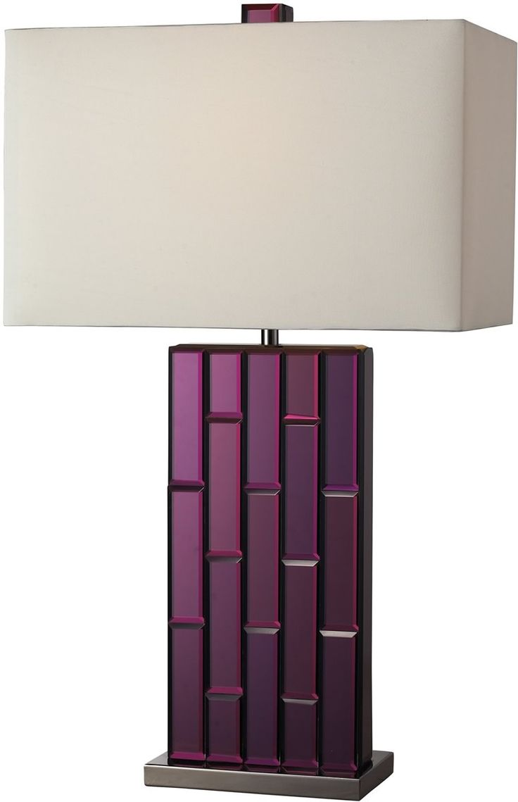 Bathroom lighting lights amp fixtures 9000 wall amp ceiling light - 27 Inchh Avalon 1 Light Table Lamp Purple Mirror And Black Nickel