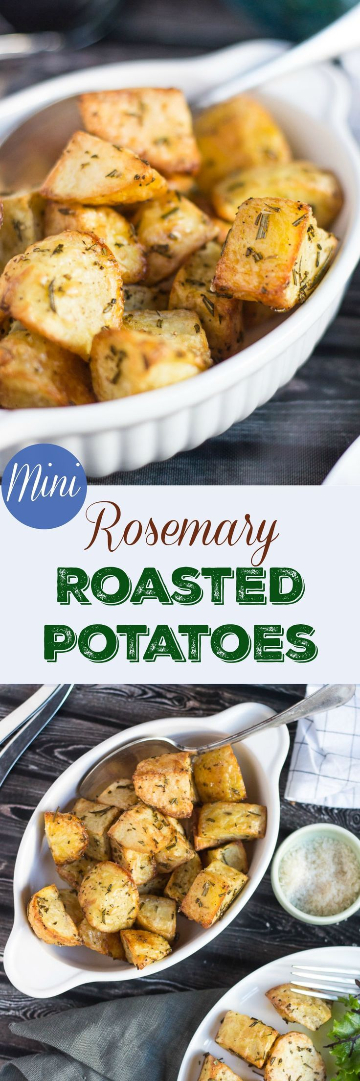 Mini Rosemary Roasted Potatoes. Crispy, crunchy and quicker to cook than conventional roast potatoes.