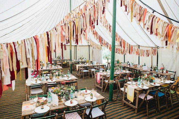 Pole Tent Marquee Rag Bunting Orange Coral Rustic Tables Laid Back Bohemian Festival Wedding http://benjaminmathers.co.uk/