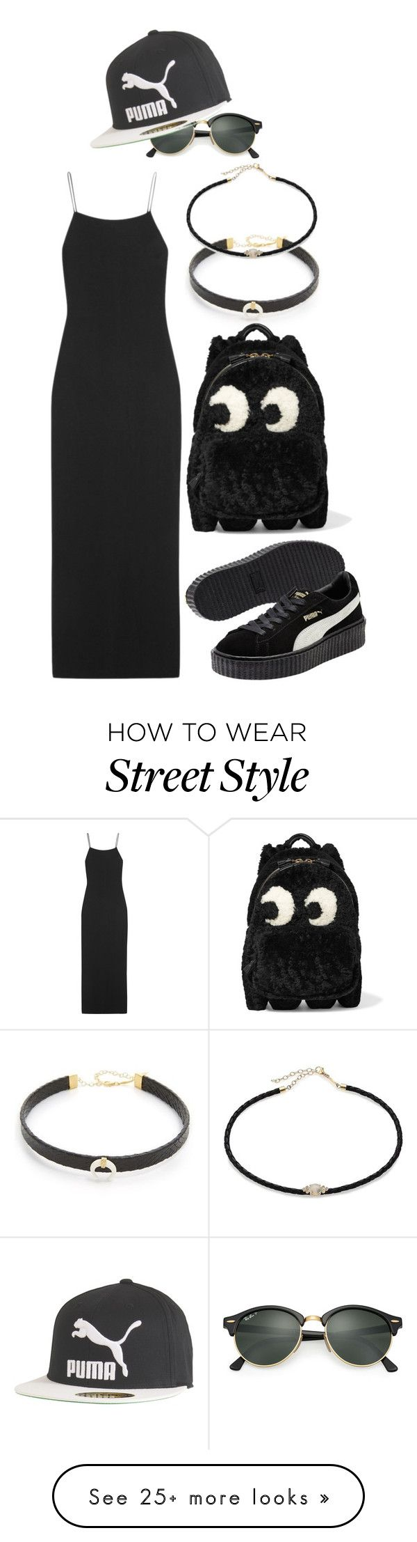 """Street Style"" by ashantiannasmith on Polyvore featuring Jacquie Aiche, The Row, Anya Hindmarch, Ray-Ban and Puma"