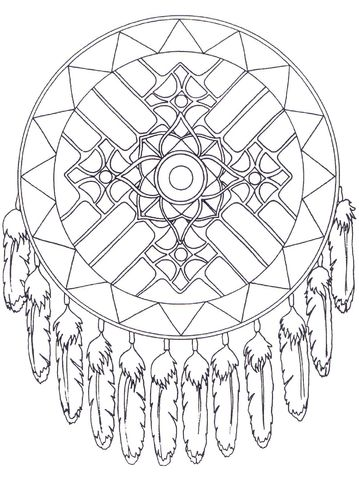 native american dreamcatcher mandala coloring page from native amercian mandalas category select from 21123 printable