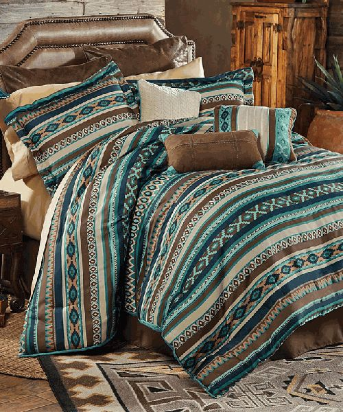 Turquoise Southwestern Bedding The Turquoise Southwestern Bedding Collection combines bold southwestern stripes with beautiful textures. A gorgeous array of colors that uses a subtle blend of turquoise, navy, brown, beige and rust to add dimension. These rich, warm and inviting hues work well to infuse a bedroom with a traditional southwestern feel. The Turquoise Southwestern Bedding