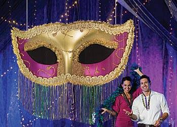 This Mardi Gras Fringe Mask features a giant gold and pink ...