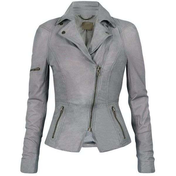 Muubaa Lyra Leather Biker in Concrete Grey ❤ liked on Polyvore featuring outerwear, jackets, fitted jacket, leather biker jacket, gray leather jacket, leather jackets and genuine leather jackets
