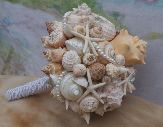 Bouquet Boutonniere Set Bridesmaid Seashell Beach Destination Seaside