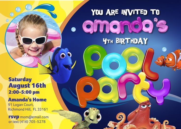 Pool Party Finding Dory Invitation | Customize it with your daughter as the star of her invite! Along with Dory, Marlin, Nemo & Hank. #poolparty #poolbirthday #findingdory #fiestadepiscina #fiestadealberca #myheroathome