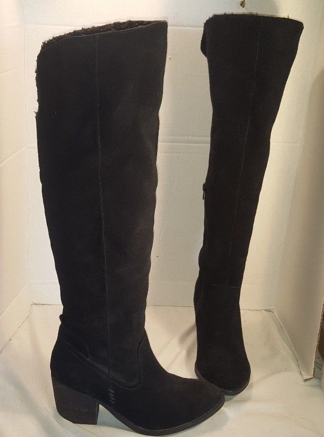 NEW JEFFREY CAMPBELL BLACK OAKMONT SUEDE FAUX FUR LINED KNEE HIGH BOOTS US 9.5 #JEFFERYCAMPBELL #KneeHighBoots