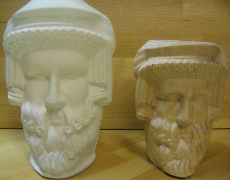 Valkoinen pullo 3D-skannattu ja suoraan siitä saadusta datasta koneistettu.